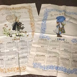 Vintage Holly Hobbie woven wall Calenders 70's